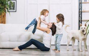 mom playing kids dog