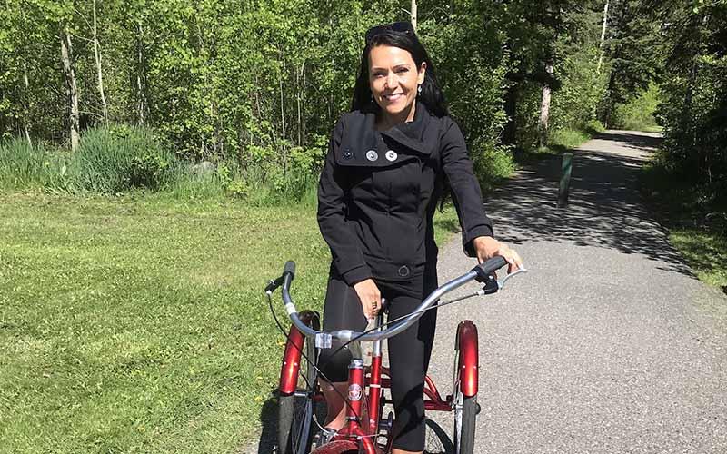 rheanna riding bicycle