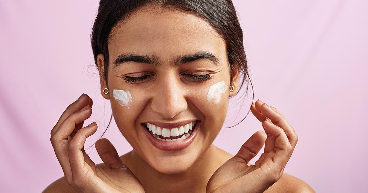 woman facial beauty product