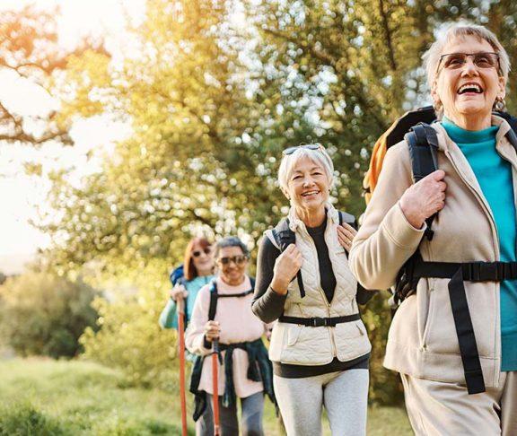 elderly women hiking trail