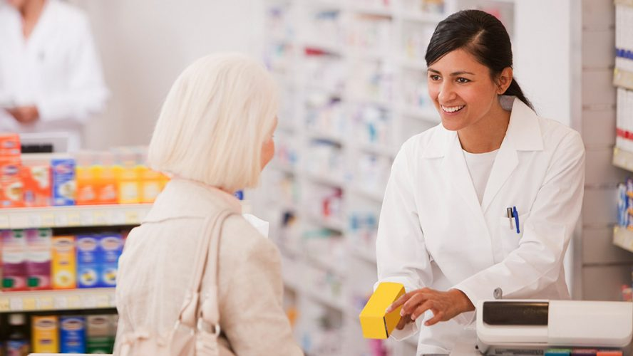 old lady at pharmacy