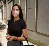 moderna woman pink mask mrna vaccine