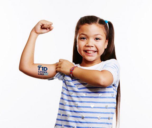 girl bicep jdrf type 1 diabetes