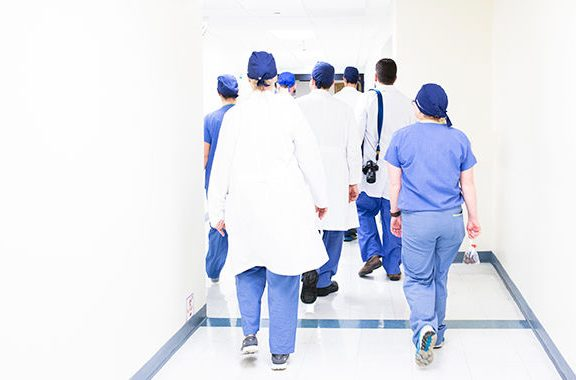 Doctors walking away