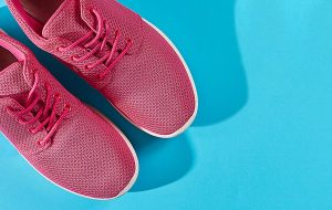 Red shoes on blue background