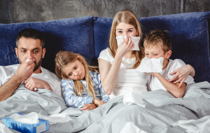 Photograph of a family with the flu