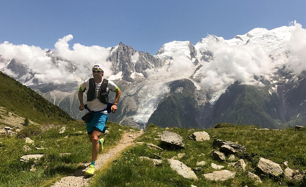 Man running through mountains