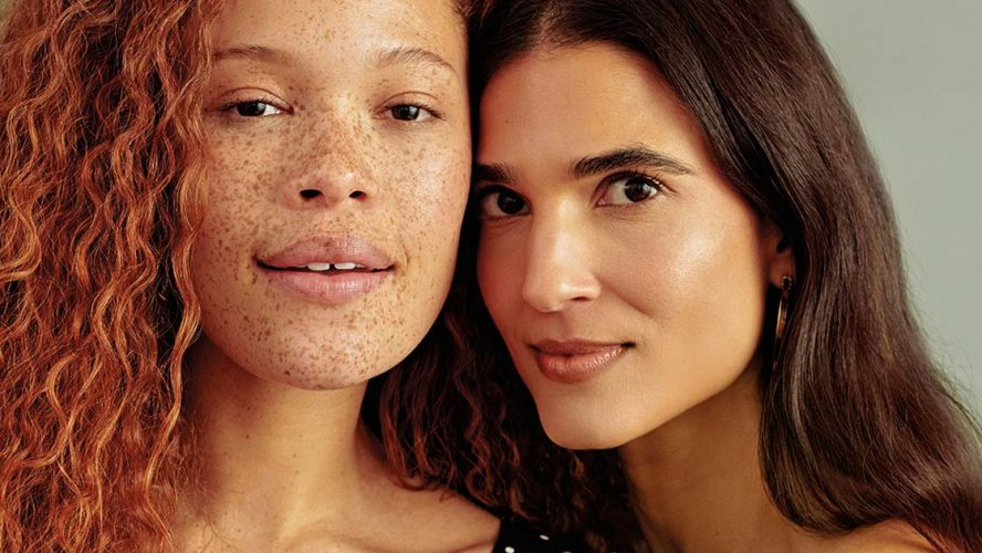 Close-up of two womens' faces