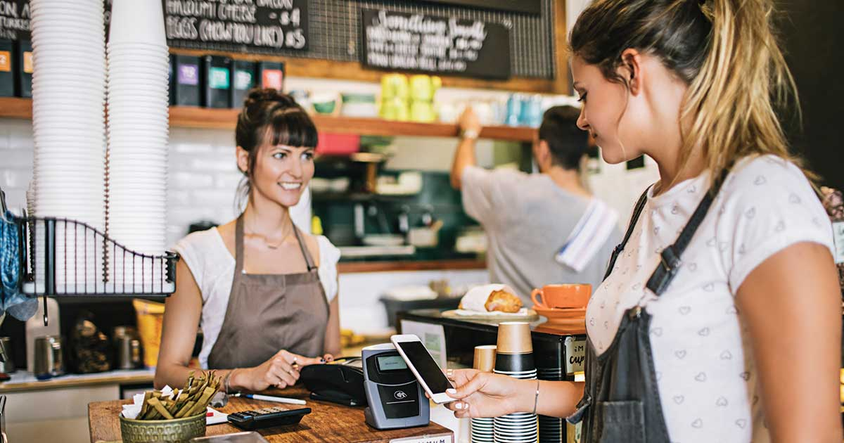 Paying at a cafe with your mobile phone