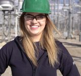 Tessa Leonard, Engineer-in-Training, at the Bruce A switchyard in Tiverton, ON.