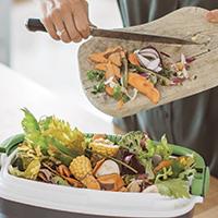 Scraping food waste into an organics bin