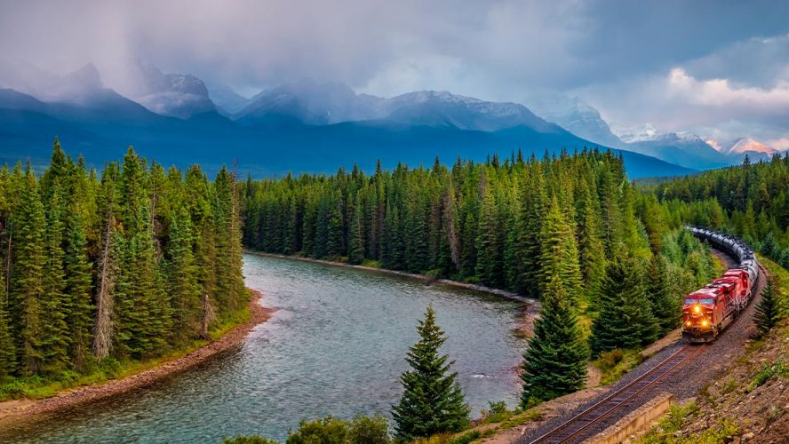 Train and forests in Alberta