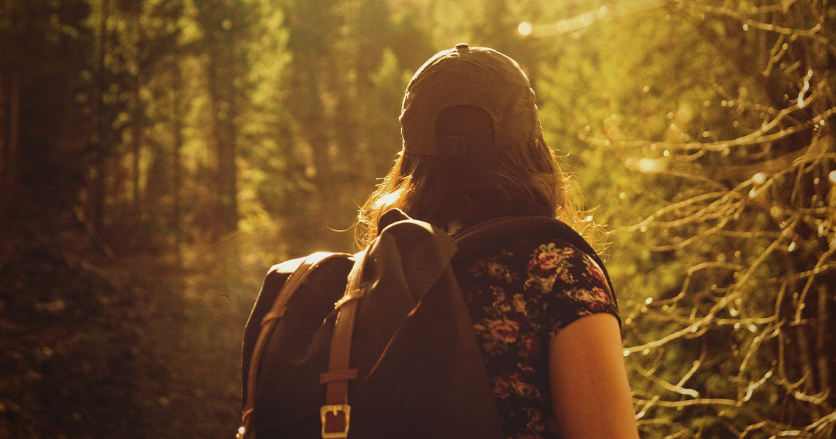 Woman hiking through forest during the golden hour