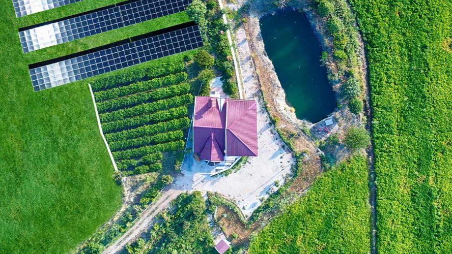Aerial view of solar farm