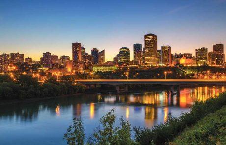 Edmonton cityscape at night