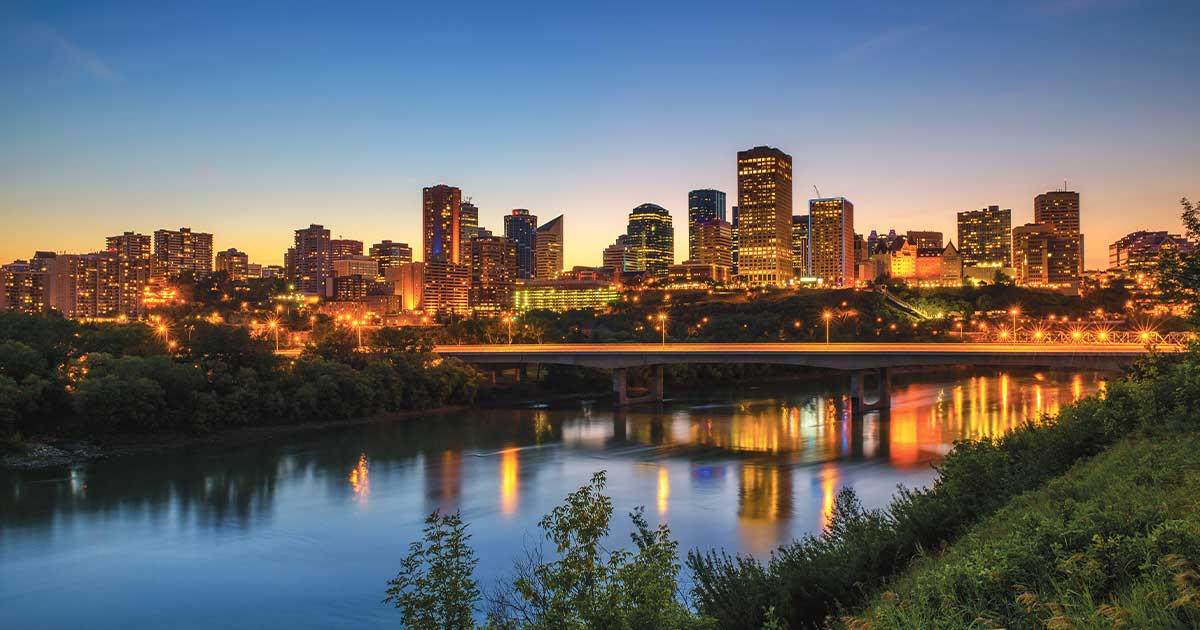Edmonton cityscape at night