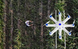 Farmer spraying crops with drone