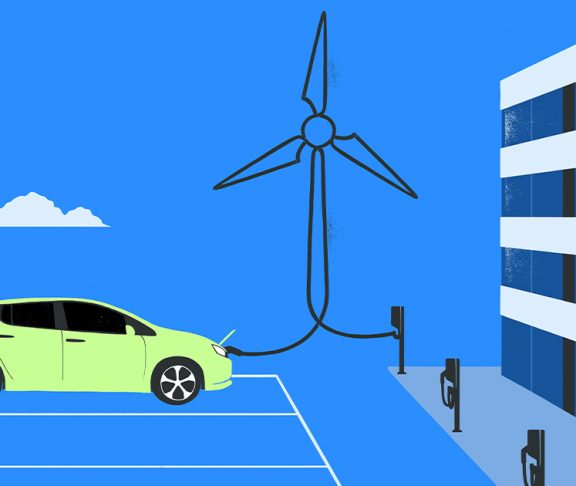 Illustration of an electric car hooked up to wind power