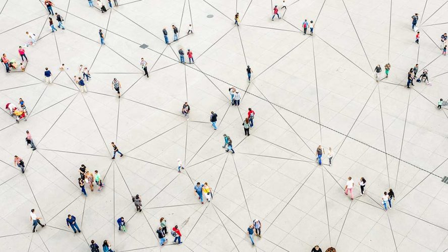Aerial photograph of people walking in a city space