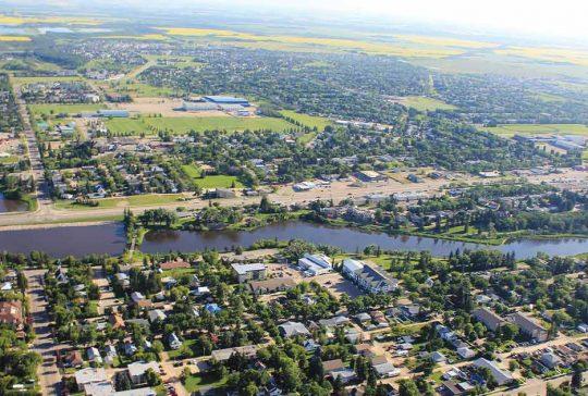 Mirror lake in Camrose, Alberta