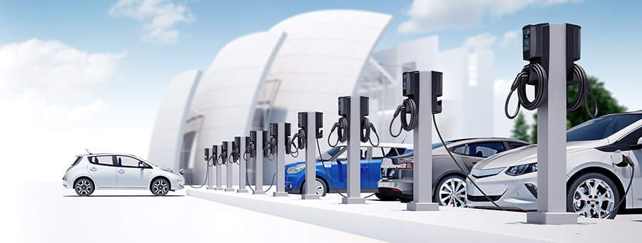 Parking lot of electric vehicles charging