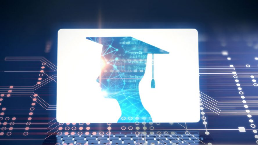 Person with a mortarboard overlaid on circuits