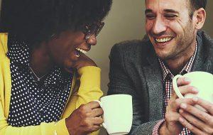 Two people enjoying coffee