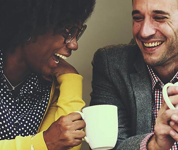 Two people enjoying coffee