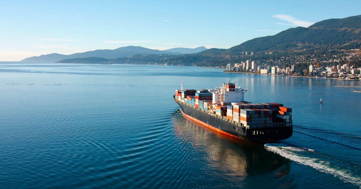 Cargo ship close to a shore