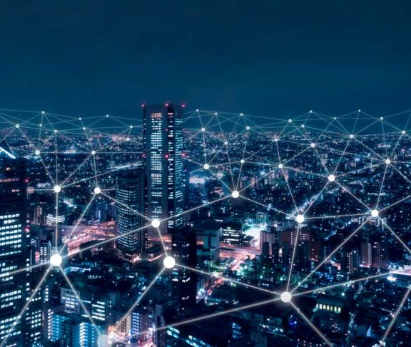 Conceptual render of networks over a city