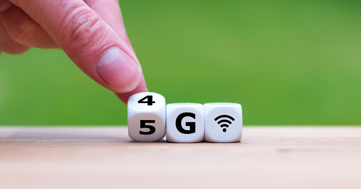 Dice with 4G written on them changing to 5G