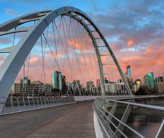 Edmonton skyline at sunrise
