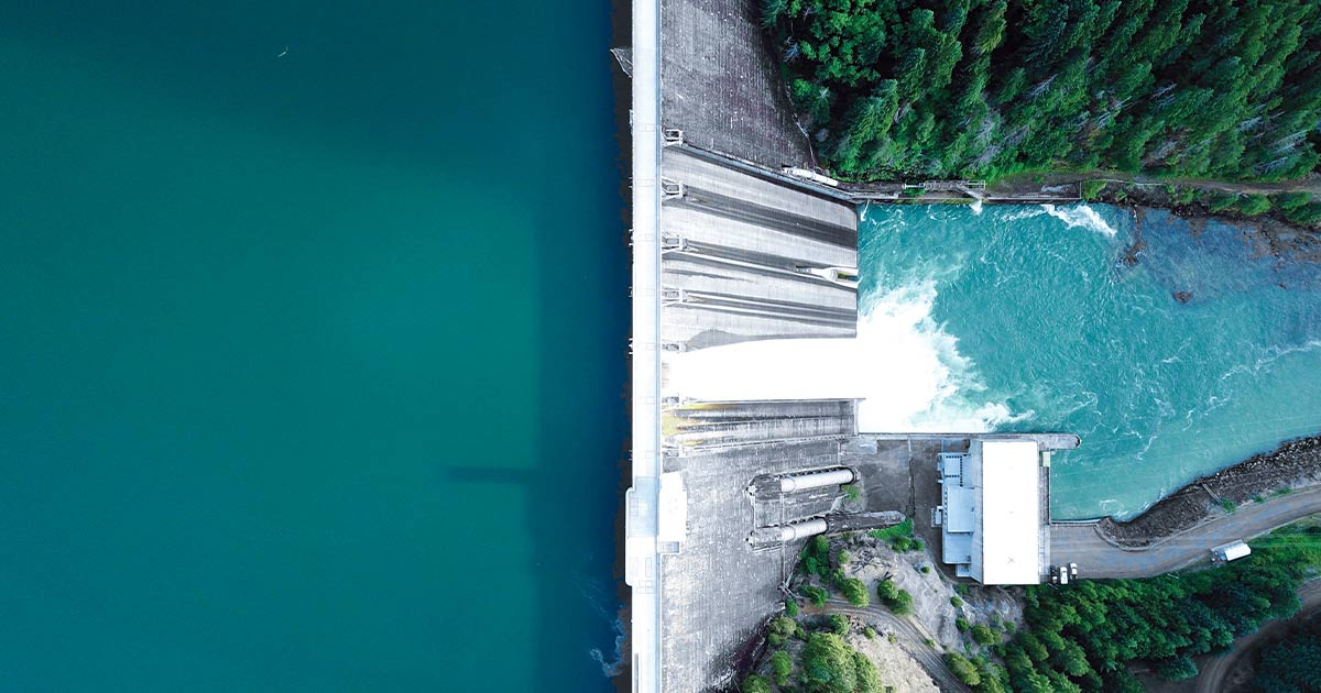 Overhead view of a dam
