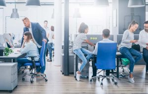 People collaborating in an open-concept office