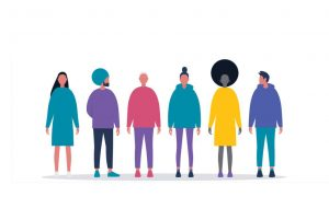 Silhouette illustration of diverse people