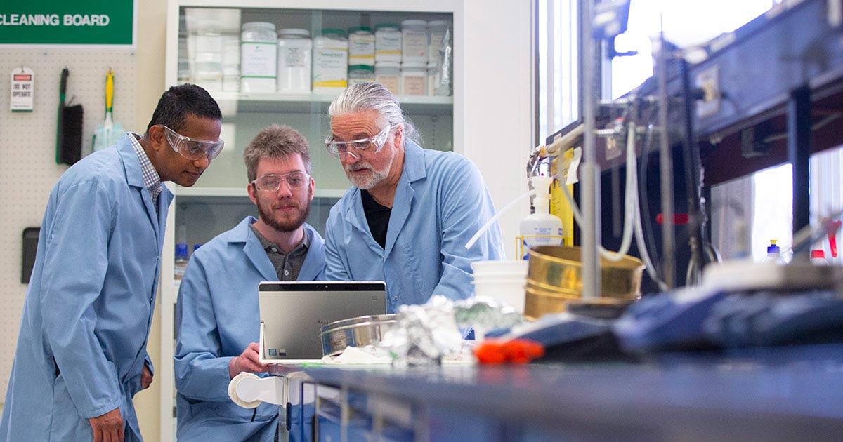Three men working at Saskatchewan Polytechnic