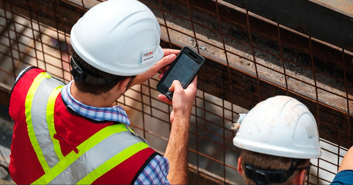 Using the Procore app on a construction site
