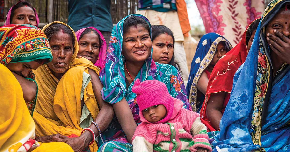 Women and a baby in Bahir, India