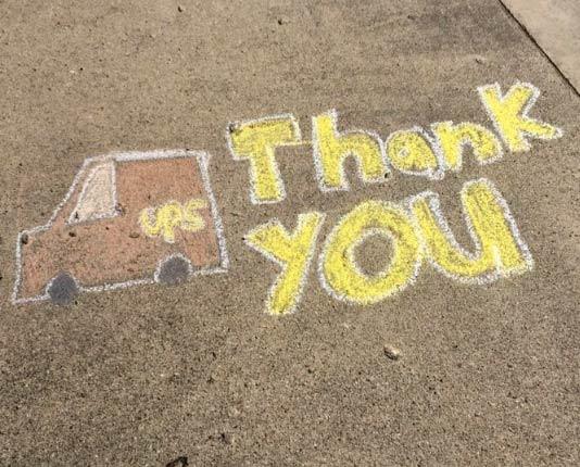 UPS thank you sidewalk chalk sign
