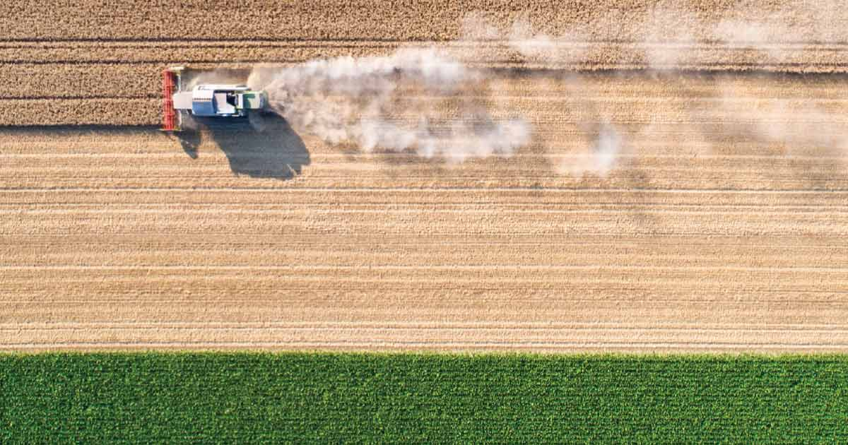Aerial photo of farm machinery harvesting a large field