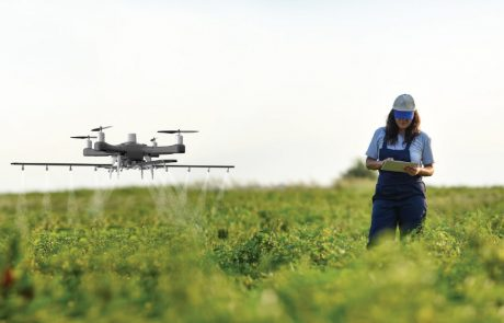 Farmer working in a field with a drone