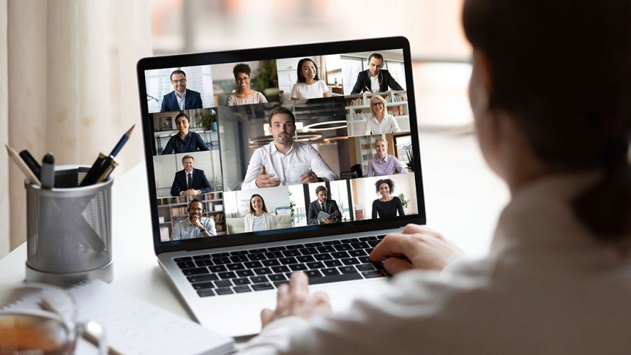 Group business meeting over video conference