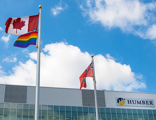 Humber College and flags