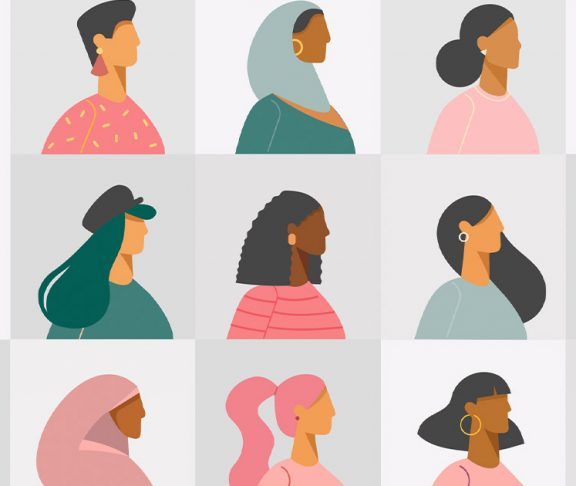 Illustrated silhouettes of diverse women