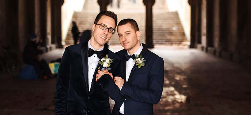 Maurie Sherman and his husband Matthew on their wedding day