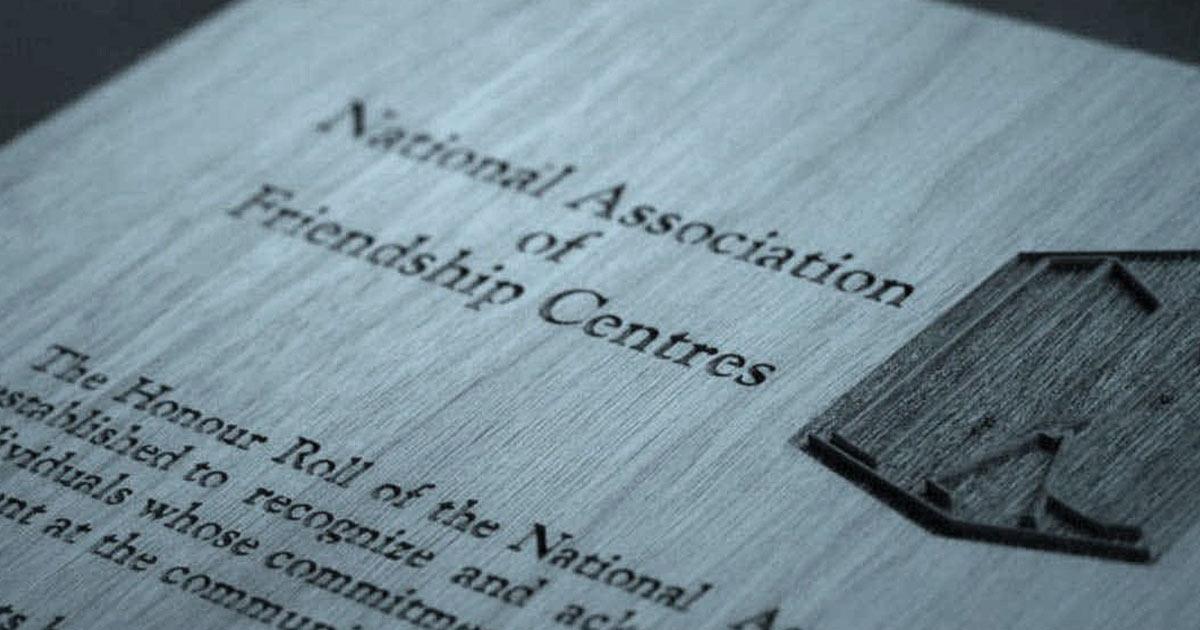National Association of Friendship Centres plaque