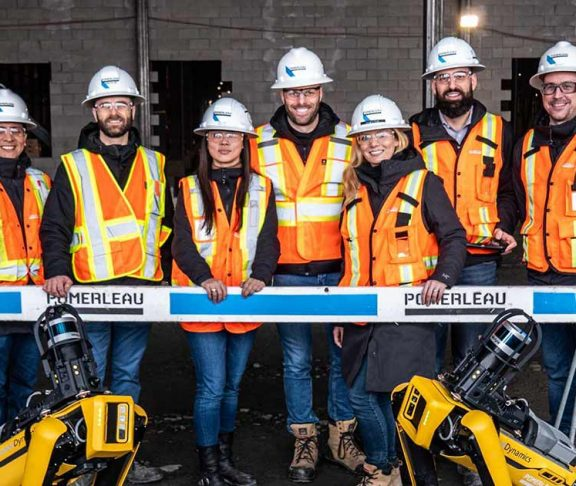 Pomerleau construction crew smiling