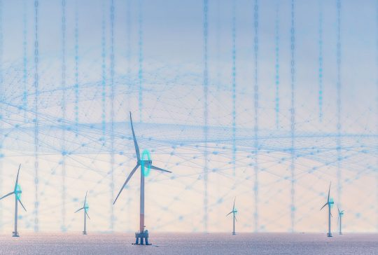 3D render of a network of wind turbines