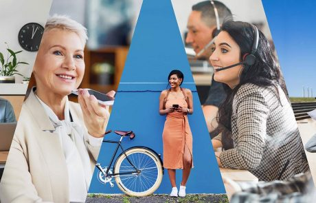 Avaya collage of five people using different technologies in their daily lives