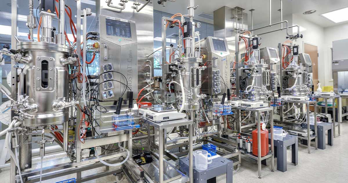 BIOSTAT C Plus machines lined up in a Biodextris lab